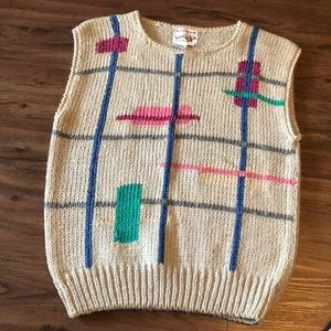 Vintage Hand Knitted Licorice Sleeveless Sweater L